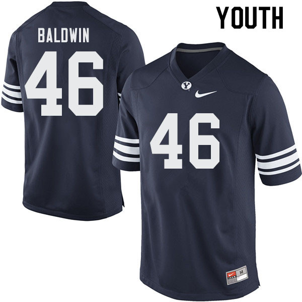 Youth #46 Sam Baldwin BYU Cougars College Football Jerseys Sale-Navy